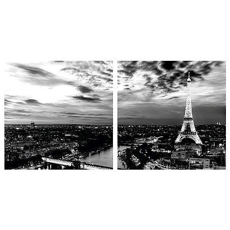 Quadro Decorativo Duplo de Acrílico de Parede Paisagem Torre Eiffel Paris 40x40 - Artframe