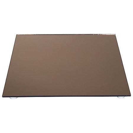 Kit Travessa Quadrada Vidro Espelhado Bronze Bolo e Doces 30x30 e 40x40 cm - VEG