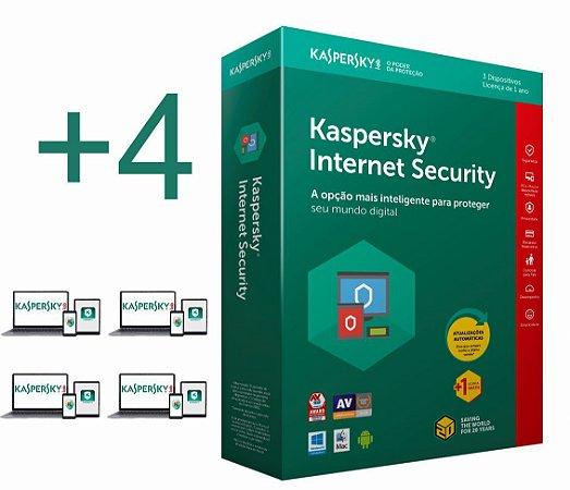 Kaspersky Internet Security 2020 licença para 04 PC's (dispositivos) por 1 ano - versão download