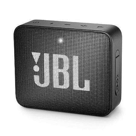 Caixa de som Bluetooth JBL GO2 Preto À prova d'água, Bluetooth, S/Fio, Viva voz, Recarregável, Autonomia para 5hs