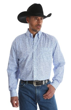 CAMISA Wrangler Men's George Strait White & Blue Paisley Button Down Shirt - MGSB417