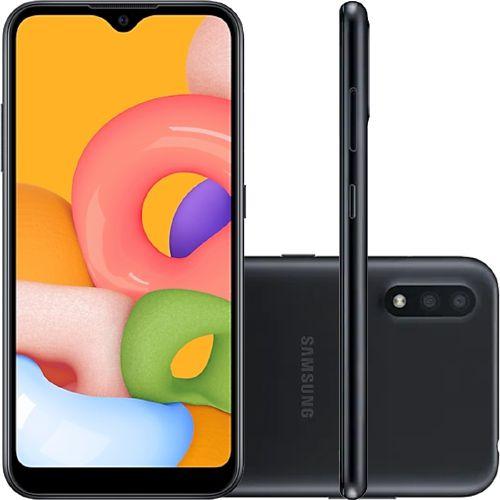 """Smartphone Samsung Galaxy A01 Preto Dual Chip, 32GB, Tela Infinita 5,7"""", Câmera Traseira Dupla, Processador Octa-Core, Android 10.0"""