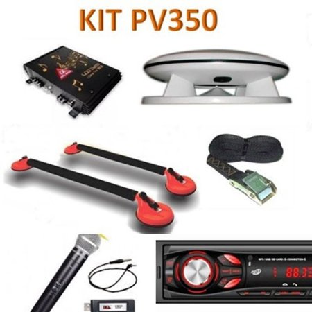 Kit PV 350 Caixa Propaganda Fibrasom+Microfone  s/fio+ Rádio