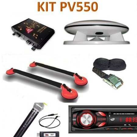 Kit PV 550 Caixa Propaganda Fibrasom +Microfone s/fio +Rádio
