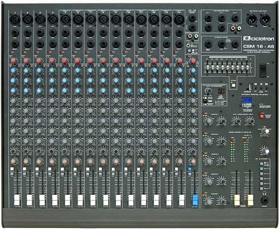 Mesa de Som Profissional Ciclotron CSM 16 A6II C/ USB