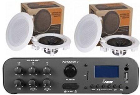 Amplificador SA100BT ESTÉREO NCA ( Bluetooth ) + 2 Pares Caixa Gesso DR500