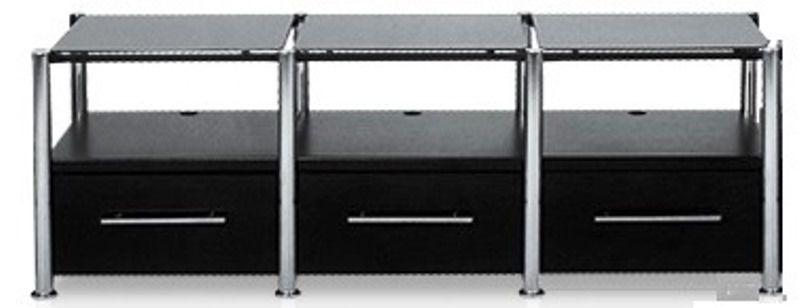 Rack Airon HT-150.02  com 3 gavetas black + sapata SD 12+Coluna inox