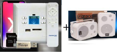 Amplificador de Parede AMCP c/ FM, BT e APP KPBT-XT + Par de Caixa SP400 branca