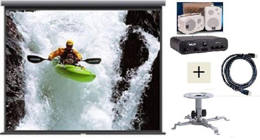 Tela de Projeção Retrátil TES 100¨+ Suporte Projetor+Cabo HDMI+Kit Som SP400