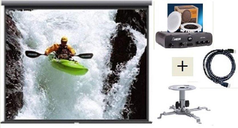Tela de Projeção Retrátil TES 100¨+ Suporte Projetor+Cabo HDMI+Kit Som DR500