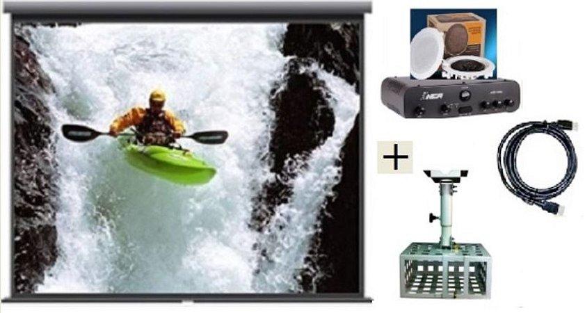 Tela de Projeção Retrátil TES 100¨+ Suporte Gaiola+Cabo HDMI+Kit Som DR500