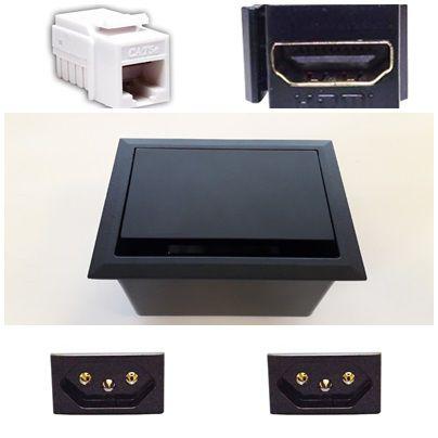 Caixa de Mesa Dock Metal AV LIFE + 2 Tomadas 3P + 1 HDMI + 1 RJ45