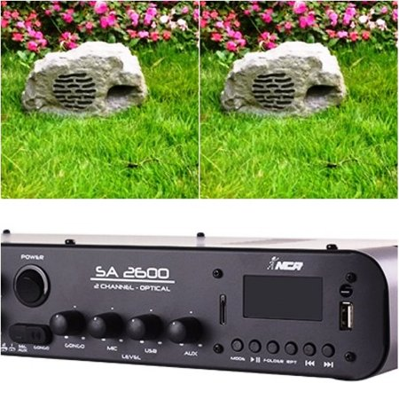 Kit Jardim Soundstone - 1 Amplificador SA2600 + 2 Caixas Pedra PD-8
