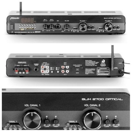 Amplificador Frahm Slim 2700 Óptico com 2 zonas de áudio