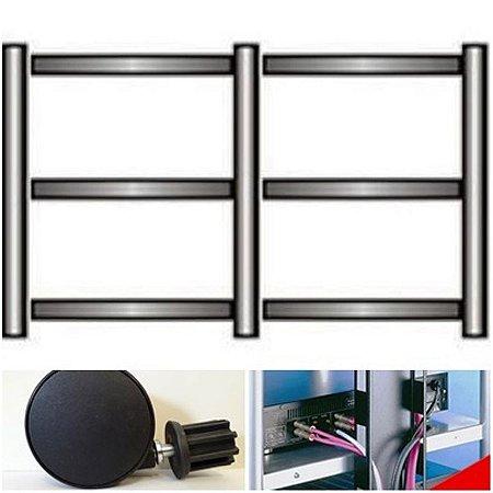Rack Airon HT-100.05 black + 6 Rodízios R7,5 e 2 Canaletas V 46 ( cor black )