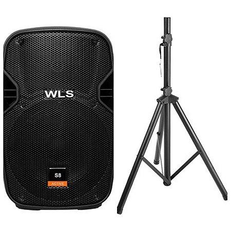 Caixa Acústica WLS S8 Ativa Bluetooth + Pedestal ST002 1,80m