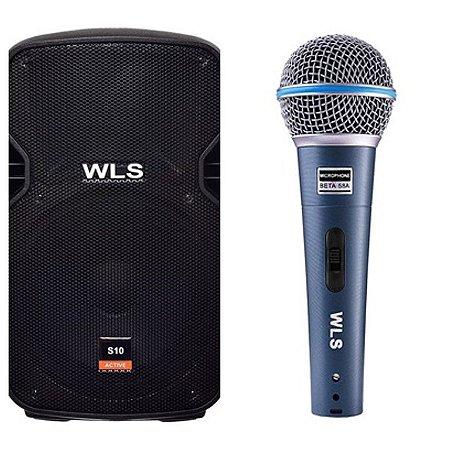Caixa Acústica WLS S10  Ativa com Bluetooth + Microfone M58A