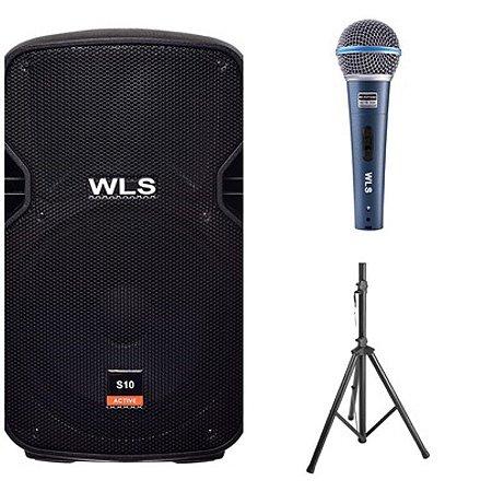 Caixa Acústica WLS S10 Ativa + Caixa S10 Passiva + 2Pç Pedestal ST002 + Microfone M58A
