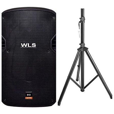 Caixa Acústica WLS S12 Ativa com Bluetooth + Pedestal ST002 1,80m