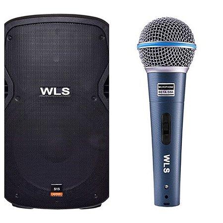 Caixa Acústica WLS S12  Ativa com Bluetooth + Microfone M58A