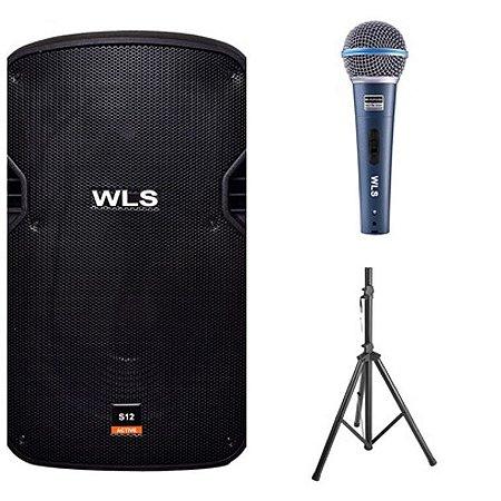 Caixa Acústica WLS S12  Ativa + Caixa Passiva S12 + Microfone M58A + 2 Pedestal ST002 1,80m