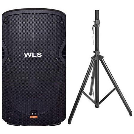 Caixa Acústica WLS S15 Ativa com Bluetooth + Pedestal ST002 1,80m