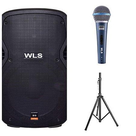 Caixa Acústica WLS S15  Ativa + Caixa Passiva S15 + Microfone M58A + 2 Pedestal ST002 1,80m