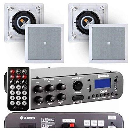 Amplificador NCA SA100BT ST Bluetooh + 4 Caixas Gesso  JBL 6CO1Q