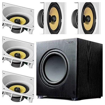 kit Home JBL 5.1- 3 cxs CI6SA e 2 cxs CI6S + Subwoofer Sub200 New Audio
