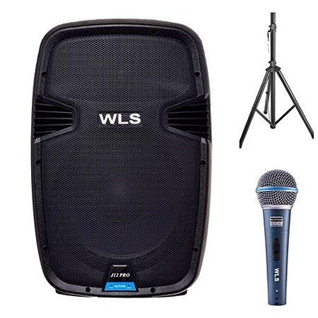 Caixa Acústica  WLS  J12 PRO Ativa + Pedestal ST002 + Microfone M58A