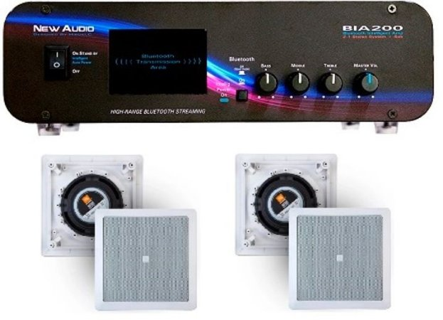 Amplificador New Áudio BIA 200 BT 2.1 ST+ 4 Caixas Gesso JBL