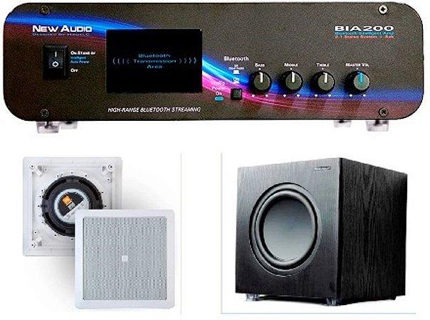 Amplificador New Áudio BIA 200 BT 2.1 Estéreo + Sub 200FD + 1 Par Caixa Gesso JBL