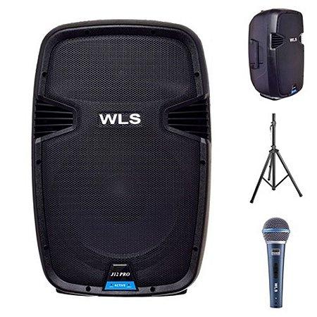 Caixa Acústica WLS  J12 PRO Ativa + Caixa J12 PRO Passiva + Microfone M58A + 2 Pedestais ST 002