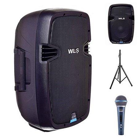 Caixa Acústica WLS  J10 PRO Ativa + Caixa J10 PRO Passiva + Microfone M58A + 2 Pedestal ST002 1,80m