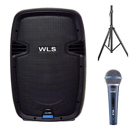 Caixa Acústica WLS  J10 PRO Ativa + Microfone M58A +  Pedestal ST002 1,80m