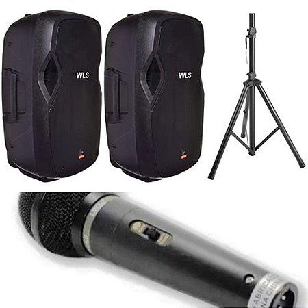 Caixa Acústica WLS  J15 PRO Ativa + Caixa J15 PRO Passiva + Microfone M58A + 2 Pedestal ST002 1,80m