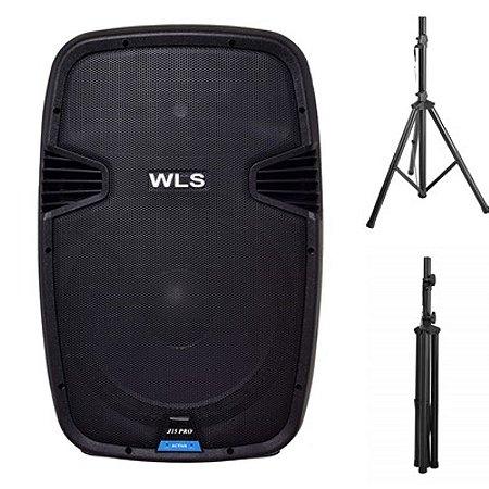 Caixa Acústica WLS  J15 PRO Ativa + 1 Pedestal ST002 1,80m
