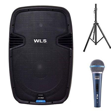 Caixa Acústica WLS  J15 PRO Ativa + Microfone + Pedestal