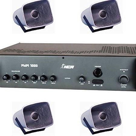 Corneta Balde Fibrasom G 086 ( 4 pç ) + Amplificador PWM1000 LL Audio