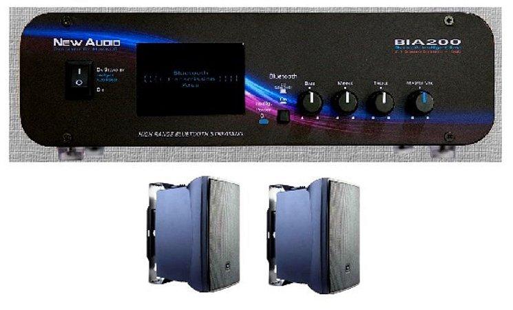 Amplificador New Áudio BIA 200 BT 2.1 Estéreo + 2 Cxs JBL C321P
