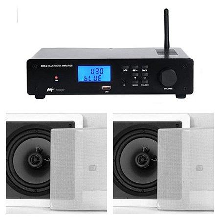 Amplificador AAT  BTA-2 Estéreo com Bluetooth + 2 Caixas JBL 6CO1Q
