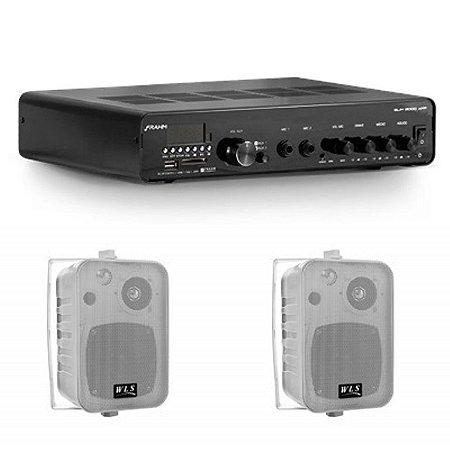 Amplificador Frahm SLIM 3000APP BT + 2 Caixas WLS M4 Branca