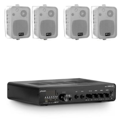 Amplificador Frahm SLIM 3000APP BT + 4 Caixas WLS M4 Brancas
