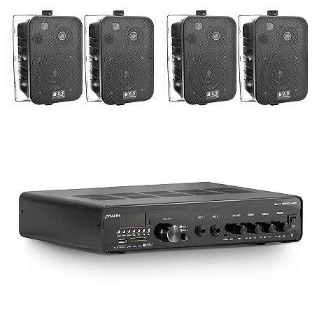 Amplificador Frahm SLIM 3000APP BT + 4 Caixas WLS  M4 Pretas