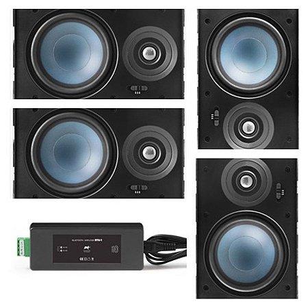 Amplificador AAT BTA-1 Bluetooth  60W RMS + 4 Caixas Gesso LRE100