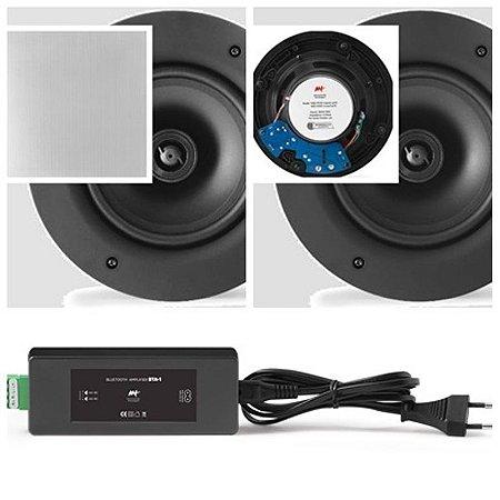 Amplificador AAT BTA-1 Bluetooth  60W RMS + 2 Caixas AAT Gesso NQ6 100