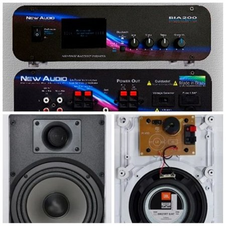 Amplificador New Áudio BIA 200 BT 2.1ST + 2 Cxs Gesso JBL 6W21RT