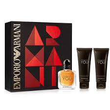 Emporio Armani mais forte com você definido para homens Edt 50ml + 2 x 75ml em todo o corpo Shampoo