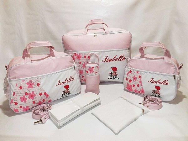 42df7b06ff Kit Bolsas + Mala Maternidade 6 pçs Linha Baby Classic Rosa bebê com Branco