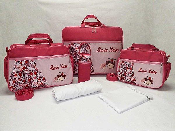 759ea1802 Kit Bolsas + Mala Maternidade 6 pçs Linha Baby Classic Rosa Pink/Rosa Bebê